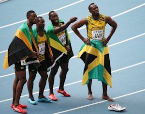 Jamaica's gold medalists Nesta Carter, Kemar Bailey-Cole, …