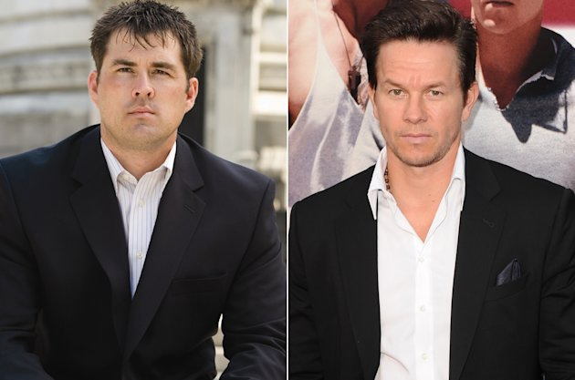 The real Marcus Luttrell (L) and Mark Wahlberg