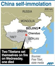 Map locating the Chenduo county in Qinghai province, where two young Tibetans set themselves alight on Wednesday and one died, according to state media and a rights group
