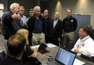 Flanked by Colorado elected officials,Vice President…