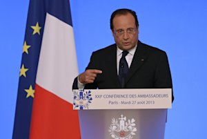 French President Francois Hollande delivers his speech…