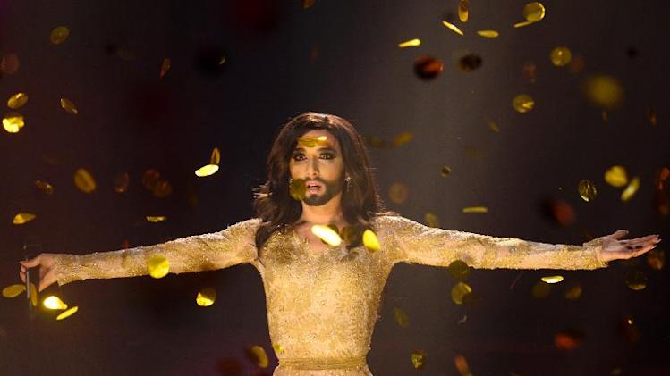 "Conchita Wurst representing Austria performs ""Rise Like A Phoenix"" after winning the Eurovision Song Contest in Copenhagen, Denmark, on May 10, 2014"