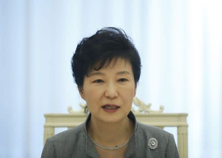 South Korean President Park Geun-hye speaks during an interview with Reuters in Seoul