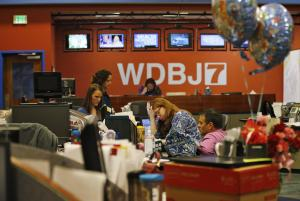 Members of the WDBJ-TV7 news staff prepare for the …