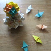 Some origami work - Kusudama, Spike ball, Paper Cranes