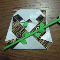 Origami Panda with bamboo