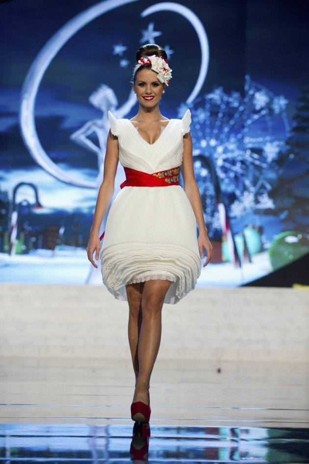 Miss Hungary Agnes Konkoly performs onstage at the 2012 Miss Universe National Costume Show at PH Live in Las Vegas