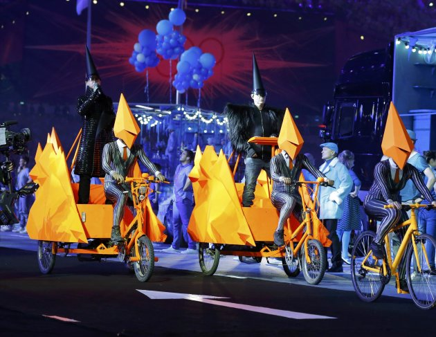 The Pet Shop Boys during the closing ceremony of the London 2012 Olympic Games at the Olympic Stadium