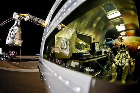 Handout photo of Pilot Felix Baumgartner of Austria sitting in his trailer during the final manned flight for Red Bull Stratos in Roswell
