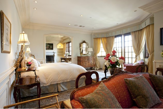 A photo made Monday, Nov. 7, 2011 shows the bedroom at the Carolwood Drive home where singer Michael Jackson passed away in 2009, in Beverly Hills, Calif. Julien's Auctions will sell various antique f