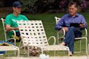 While President Obama Rallies, Mitt Romney Sits Lakeside With iPad