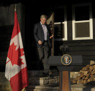 Canadian Prime Minister Stephen Harper arrives to speak to reporters following the G-8 Summit at Camp David, Md., Saturday, May 19, 2012. (AP Photo/Susan Walsh)