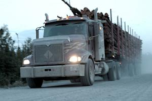 A logging truck carries wood from the boreal forest…