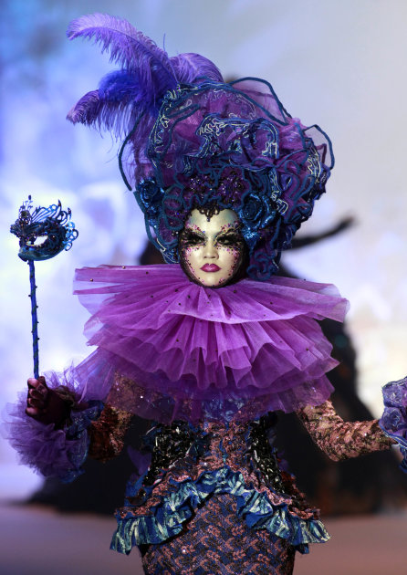 A model poses during the Mao Gepin make-up styling show at the China Fashion Week in Beijing, China, Tuesday, Nov. 1, 2011. (AP Photo/Ng Han Guan)