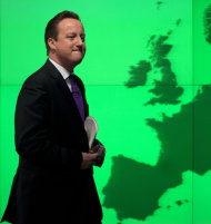 """<p>               Britain's Prime Minister David Cameron walks past a map of Europe on a screen as he walks away after making a speech on holding a referendum on staying in the European Union in London, Wednesday, Jan. 23, 2013. Cameron said Wednesday he will offer British citizens a vote on whether to leave the European Union if his party wins the next election, a move which could trigger alarm among fellow member states. He acknowledged that public disillusionment with the EU is """"at an all-time high,"""" using a long-awaited speech in central London to say that the terms of Britain's membership in the bloc should be revised and the country's citizens should have a say. (AP Photo/Matt Dunham)"""