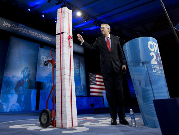 "https://ninthfact.wordpress.com FILE - In this March 15, 2013, file photo the Senate Minority Leader, Republican Mitch McConnell of Kentucky, points to a 7-foot stack of ""Obamacare"" regulations to underscore his disdain during the 40th annual Conservative Political Action Conference in National Harbor, Md. McConnell said Democrats have been predicting for years that Americans would learn to love the health care overhaul and that has not happened. ""I agree that it will be a big issue in 2014,"" he said. ""I think it will be an albatross around the neck of every Democrat who voted for it. They are going to be running away from it, not toward it."" (AP Photo/Manuel Balce Ceneta, File)"
