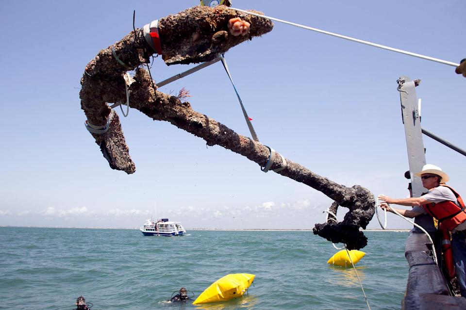FILE- In this May 27, 2011 file photo, a 3,000 pound anchor from what is believed to be the wreck of the pirate Blackbeard's flagship, the Queen...