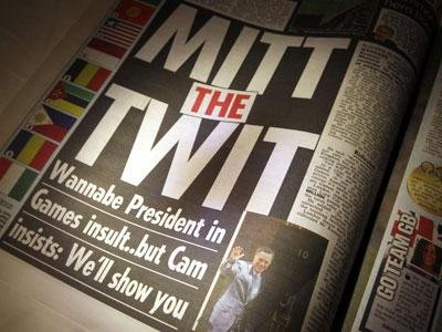 Raw Video: Romney headlines tabloids in London