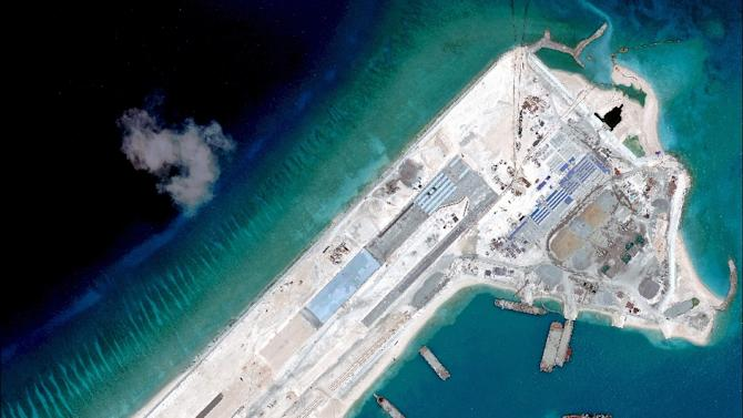 A satellite image of what is claimed to be an airstrip, under-construction at Fiery Cross Reef in the disputed South China Sea