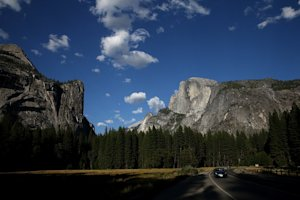 A view of Half Dome and the Yosemite Valley on August…