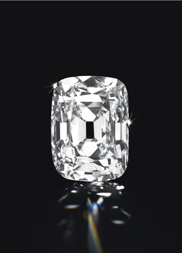 Handout shows Archduke Joseph Diamond, an unmounted cushion-shaped Golconda diamond weighing 76.02 carats with a D colour and internally flawless clarity
