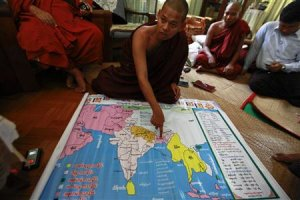 Wimala Biwuntha shows a religious map before the introduction…