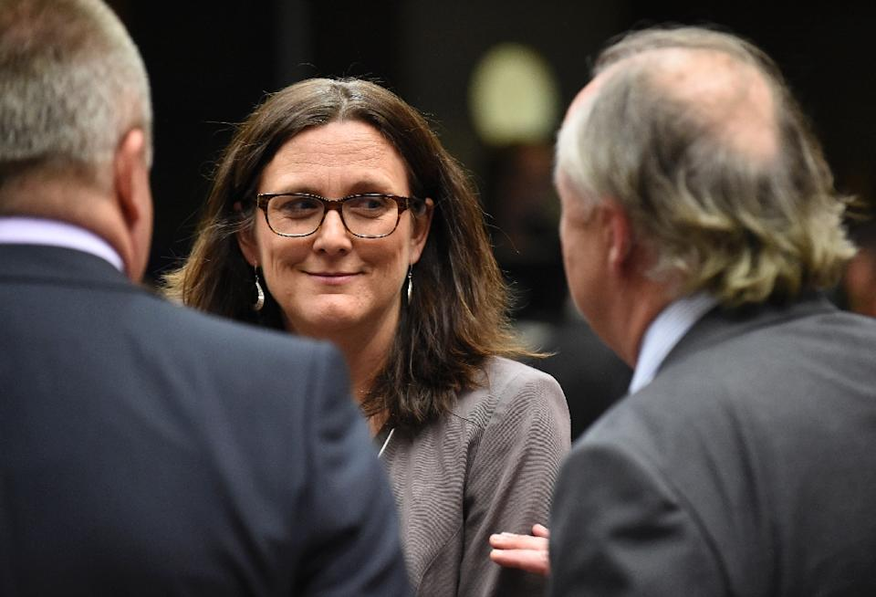 European Commissioner for Trade, Cecilia Malmstroem during a Foreign Affairs Trade Council meeting at the EU Headquarters in Brussels on May 7,  2015