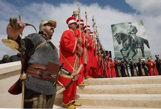 Historical Turkish army musical band of Mehter perform at the Turkish 57th Regiment Memorial in Gallipoli, Turkey, Monday, April 25, 2011. The World War I battlefield of the Gallipoli campaign, where
