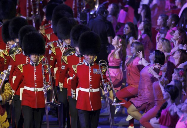 British Palace Guards and performers take part in the closing ceremony of the London 2012 Olympic Games