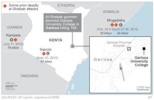 Map locates areas where Al-Shabab gunmen stormed Garissa …