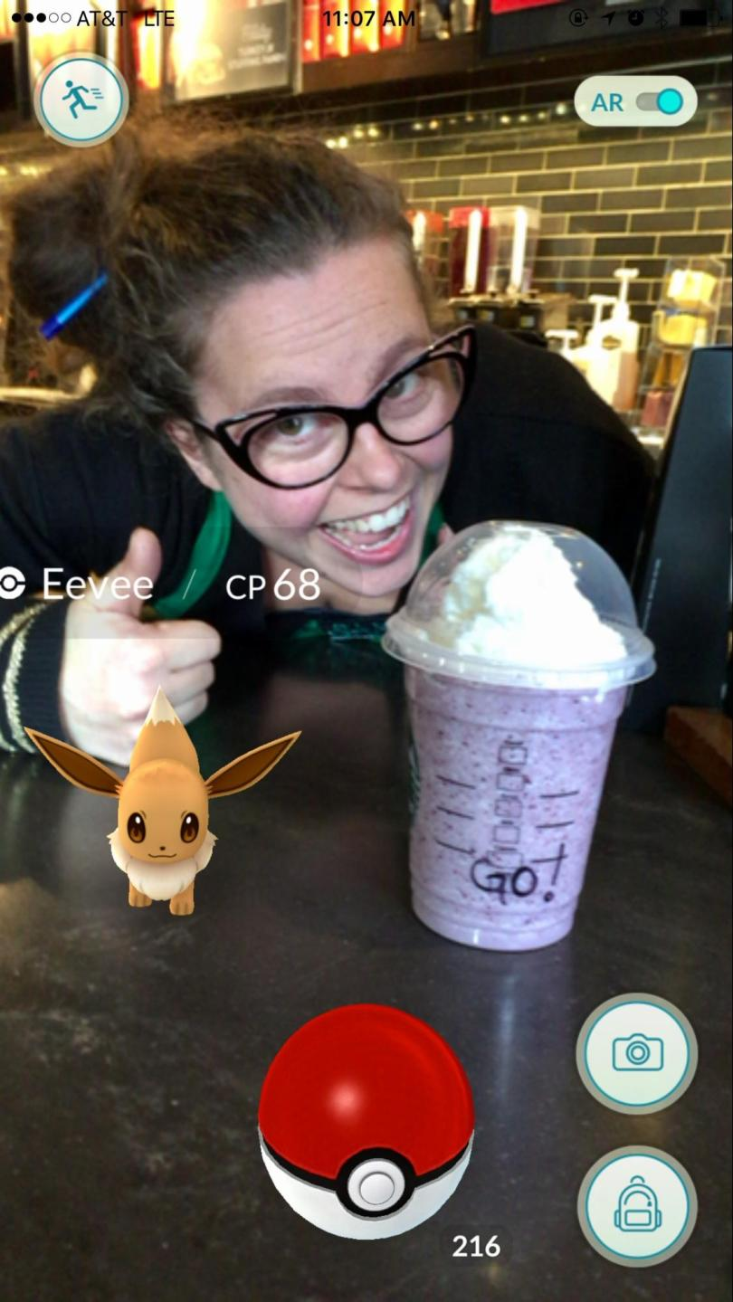 My barista was proud of her work.