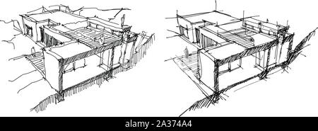 Architectural Drawing Cross section through double storey