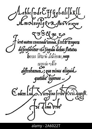 Page from Arrighi's Operina writing manual of 1539 showing