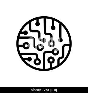 black abstract microchip circuit icon Stock Vector Art