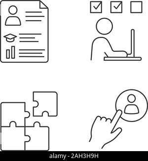 Business training editable line icons vector set on black