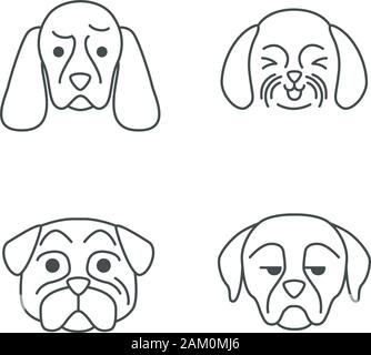 Cute outline pug. Isolated vector illustration. Funny