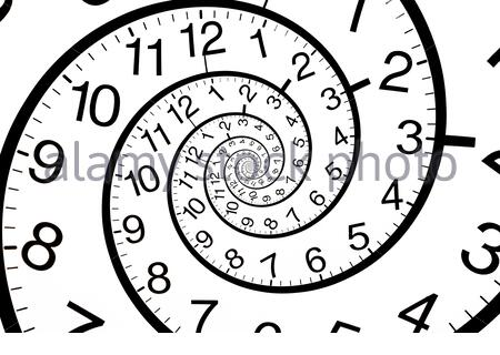 The clock is twisted in a spiral. Time infinity concept