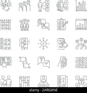 Survey linear icons set. Personal questioning. Mass poll