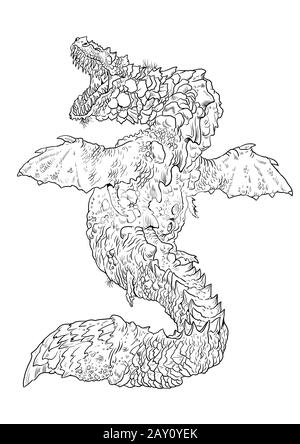 Dragon coloring page. Outline illustration. Dragon drawing