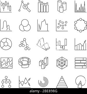 Statistics business graphs and charts outline vector icons