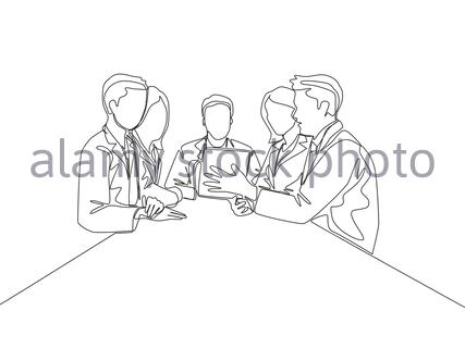 One continuous line drawing of team members support their