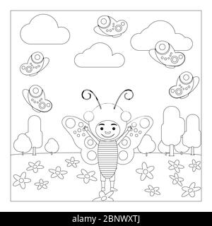 Coloring Book page for adult and kid. Colouring picture of