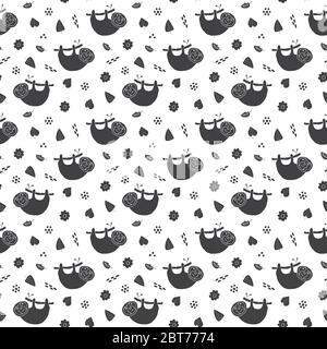 Childish seamless pattern with cute sloth. Creative