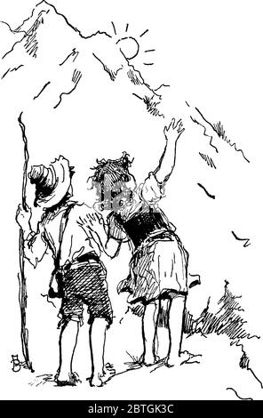 The picture depicts two boys barefoot, talking with each