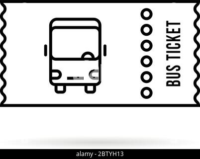 Vector illustration bus and boarding pass ticket template
