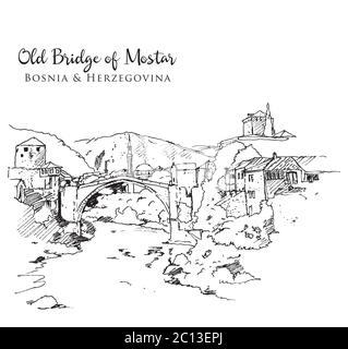 View of the Old turkish bridge (stari most), Mostar