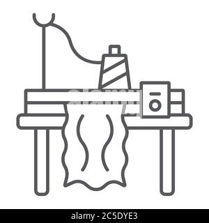 Knitting machine glyph icon, embroidery and sew, sewing