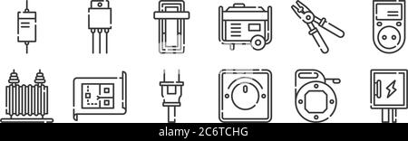 12 set of linear electrician tools and elements icons