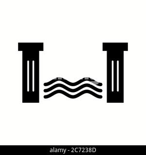 Hydroelectric dam glyph icon. Water energy plant