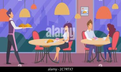 A vector illustration of a waiter in a restaurant serving customers Stock Vector Image & Art Alamy